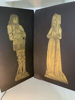Pair 1970 Handmade Brass Rubbings Medieval Art Renaissance Grave Lady Knight