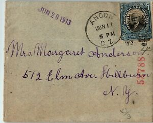 Canal Zone Postal History: LOT #1 1913 5c REG? ANCON - NEW YORK $$$