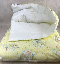 Vtg Kendall Co Baby Sleeping Bag Yellow Animals Quilted Zippered Blanket 34x43