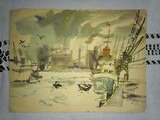 Hamburger Hafen um 1950 Aquarell