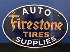 New ListingVintage Porcelain Firestone Auto Supplies Gas And Oil Sign