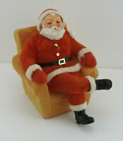 Vintage Flocked Santa Sitting in Chair Bank Blow Mold Enesco Hong Kong EUC