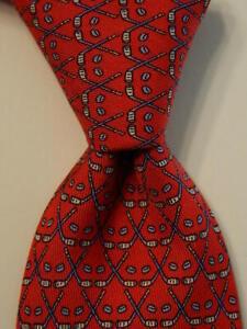 VINEYARD VINES Martha's Boys Youth 100% Silk Necktie Luxury GOLFING Red/Blue EUC
