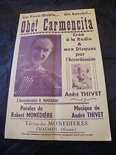 Partition Ohé ! Carmencita R Monédière André Thivet Music Sheet