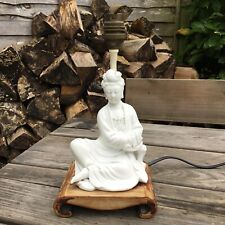 More details for old vintage chinese blanc de chine seated guan yin figure table lamp