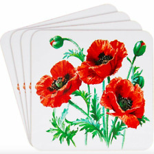Set of 4 Red Poppy Flower Cork Cup Drink Coasters Home Decor Accessory Gift