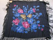 Vintage Russian Silk Scarf Shawl Fringed Roses Unworn