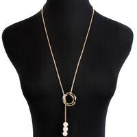 Fashion Women Statement Pearl Sweater Chain Long Pendant Choker Necklace Jewelry