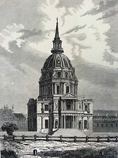 Paris Les Invalides estampe de 1856 France