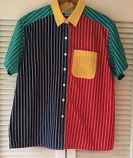 80's 90's John Henry Vivid Colorblock Striped Button Down Short Sleeve Shirt