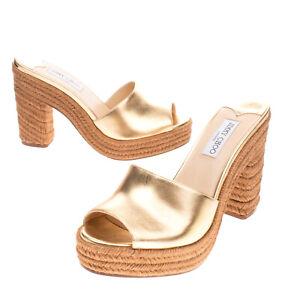 RRP €530 JIMMY CHOO Leather Mule Sandals EU 43 UK 10 US 13 Heel Metallic Effect