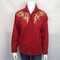 Wrangler Vintage Shirt Medium Button Down Western Red Long Sleeve Rhinestone