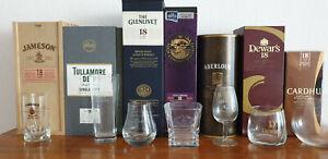 Whisky 18 Jahre - Sammlung mit Distillery Gläsern