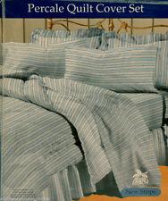 Blue Stripe QUEEN Q QUILT COVER DOONA DUVET SET + 2 PILLOW CASES PolyCotton NEW