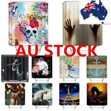"AU Stock 72*72"" 3D Fabric Floral Skull Novelty Horror Shower Curtain Panel Sheer"