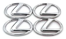 "LEXUS CHROME CENTER CAP CAPS LOGO DECAL EMBLEMS FACTORY OEM 2"" x 1.5"" SET x4"