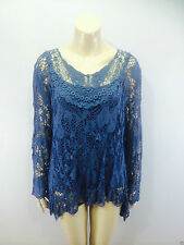 Ladies 2 in 1 Italian Long Sleeve Crochet Top Tunic Lace Mesh One Size Plus Navy