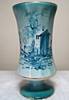 Vintage Portuguese Porcelain Urn Vase Blue Shades Rural Scene Gold Trim Portugal