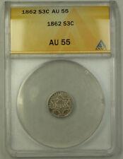 1862 3c Silver Three Cents ANACS AU-55 JMX