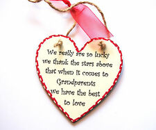 Handmade Gift Wood Plaque WE REALLY ARE SO LUCKY... Present FOR GRANDPARENTS