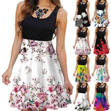 Summer Women Crew Neck Tank Top Dress Floral Print Casual Ruffle Hem Short Dress