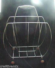 Mid-Century MODERN,Modernism,MAGAZINE RACK,HOLDER,CHROME,WOOD,ART DECO HANDLE,PS