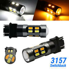 Syneticusa 3157 LED DRL Switchback Turn Signal Parking Light Bulbs White/Amber