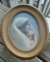 Vintage Catholic Print Picture Virgin Mary & Infant Jesus ~ Oval Gol Metal Frame