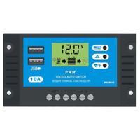 10A LCD Solar Panel Controller Batterieregler Dual USB Battery Charge 12V/24V