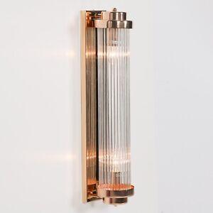 Gold Fluted Column Glass Rods Pilar Art Deco Cinema Wall Light Sconce Lamp