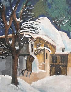 Vintage winter landscape gouache painting signed