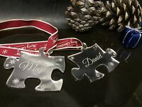 Personalised Pair of Jigsaw Christmas Tree Decorations / Bauble engraved free
