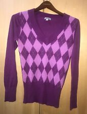 GUESS Women Long SLEEVE Plaid Purple CARDIGAN SWEATER Pull Over On Size Large
