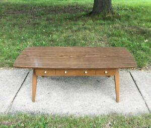"""Vintage Coffee Table MCM Wood with Drawers and Formica Top 41.5"""" Long"""