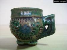 19C. ANTIQUE GLAZED POTTERY MINI CUP TRADE MARKED
