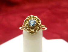 14K YELLOW GOLD BLUE TOPAZ FLOWER LAYERS GIRL'S KID'S RING SIZE 4.25