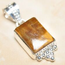 "Handmade Golden Tiger's Eye Gemstone 925 Sterling Silver Pendant 1.75"" #P07384"
