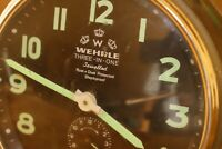 Vintage WeHrle Alarm Clock 3 in 1 Excellent Black Face Alarm Clock Germany #58