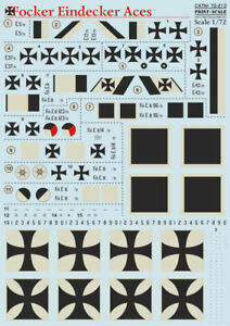 Print Scale 72-213 - 1/72 Decal for Airplane Fokker Eindecker Aces Aircraft