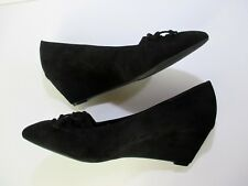 BCBG Womens Shoes Wedge Black Slip On Bow Embellished Work Casual NWT #S057