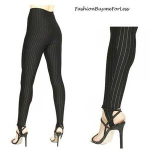 Gothic Steampunk Black Pinstripes Fitted Stretchy Flattering Stirrup Pants S M L