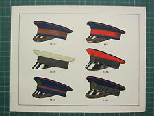 1920 CHROMOLITHOGRAPH MILITARY UNIFORM PRINT ~ VARIOUS TYPES OF HATS
