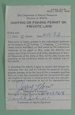 1982 Ohio Department of Natural Resources Private Land Hunting Permit License