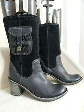 CLARKS BLACK LEATHER MID CALF BOOTS HEELS SIZE 6 / 39 EXCELLENT CONDITION