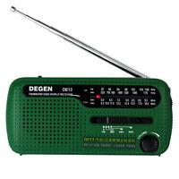 DEGEN DE13 FM/MW/SW Radio Crank Dynamo Solar Emergency World Receiver LED&Alarm