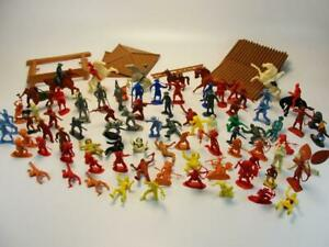 1950'S LOUIS MARX PLAY SET COWBOYS AND INDIAN FIGURES ORIGINAL TOY PLAYSETS