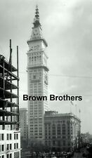 1908 NYC New York Life Building Clock Tower Construction Glass Photo Negative #1