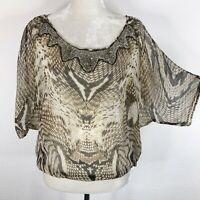 Cache Blouse Size Small 100% Silk Animal Print Embellished Beaded Collar Sheer