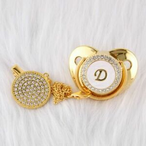 Baby Pacifier Clips With Letter Infant Nipple Gold Bling Newborn Dummy Soother