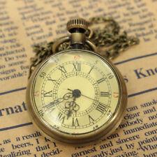 Retro Antique Quartz Bronze Glass Pocket Watch Charm Pendant Necklace Jewelry